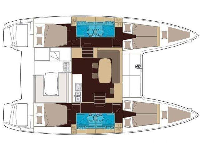 Lagoon 400 S2 Layout 4 Cabins 4 Bathrooms